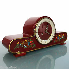 MAUTHE Mantel TOP Clock HIGH GLOSS Vintage HAND PAINTED 3 Bar WARM Chime Germany