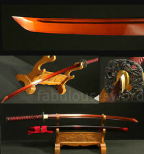 41' 1095 HIGH CARBON  STEEL RED FULL JAPANESE SAMURAI SWORD KATANA DRAGON TSUBA
