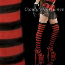 """BLACK & RED Striped OVER-THE-KNEE 31"""" Long SOCKS Thigh-High COSTUME Stay-Ups"""