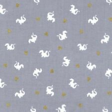 Michael Miller Magic by Sarah Jane MD7197 Gray Baby Dragon  BTY Cotton Fab