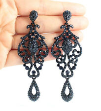 PAGEANT AUSTRIAN CRYSTAL RHINESTONE NAVY CHANDELIER DANGLE EARRINGS  E2090NB