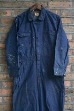 VTG 60s WRANGLER BIG BEN BLUE DENIM JUMPSUIT WORK COVERALLS USA LARGE SHORT 42