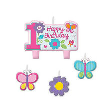 4 Piece Sweet Butterfly Pink Girls 1st Birthday Party Cake Decoration Candle Set