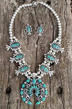 COWGIRL Bling Southwest Turquoise SQUASH BLOSSOM Western Gypsy NECKLACE SET