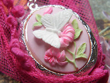 EASTER MOM 925 PLTD SILVER PINK PHOTO BUTTERFLY Cameo Cameo Necklace Locket BOX