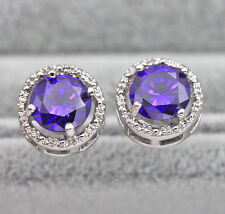 18K White Gold Filled - Round Amethyst Topaz Hollow Women Cocktail Earrings HOT