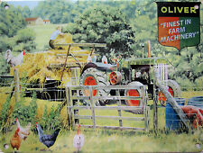 New 30x40cm OLIVER TRACTOR vintage enamel style tin metal advertising sign large
