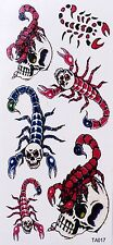 Tatouage Temporaire Scorpions Nouveau Design paillettes 6 Stickers Waterproof