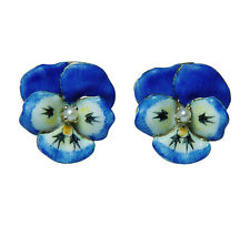 Art Nouveau Enamel Pansy Flower Pierced Large Earrings 14K Gold Estate Jewelry