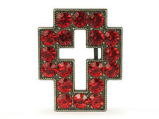 Rhinestone Cut-out Cross Sign Belt Buckle - Red