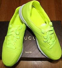 AUTHENTIC! $595 GUCCI NEON YELLOW/GREEN  LEATHER SNEAKER SZ 8G/ 9US