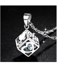 STERLING SILVER HOLLOW LOVE HEART CRYSTAL CUBE INFINITY PENDANT NECKLACE