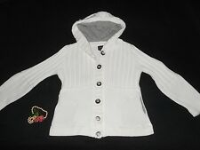 USA S/M Pure Handknit White Cardigan Sweater Hoodie Pewter Buttons Bulky