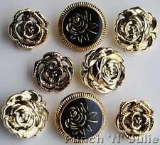 VICTORIAN ROSE - Metallic Flower Vintage Wedding Novelty Plastic Craft Buttons