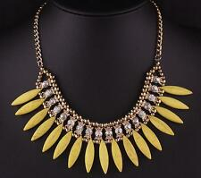 Fashion Women Crystal Pendant Charm Chain Choker Chunky Statement Bib Necklace
