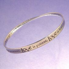 Love Is Patient Bracelet Kind Corinthians 13:4-7 Bangle Message STERLING SILVER