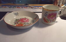Antique MEISSEN Crossed Swords Cup & Saucer-Flowers-#6