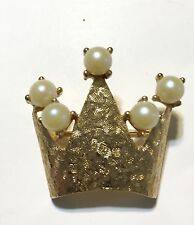 Vintage EMMONS Crown Brooch With Faux Pearls Pin Brooch Signed