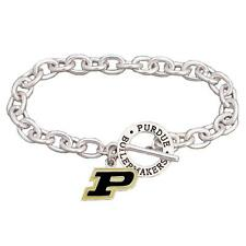 Purdue Boilermakers Team Name Silver Toggle Black Charm Bracelet Jewelry PU