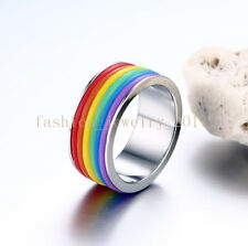 Wholesale Lots Mixed 10Pcs Rainbow Rubber 316L Stainless Steel Ring Band Gift A+