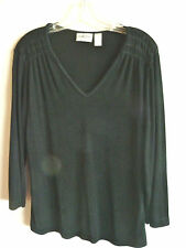 Chicos Traveler Slinky Knit Black Long Sleeved Top  As Is   Sz 1