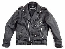 VINTAGE BLACK LEATHER MOTORCYCLE JACKET M / L BLACK HEAVY PERFECTO STYLE EXC