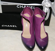 100% Authentic Chanel Booties Violet 12A Crystal Heels Size 8.5 Brand New