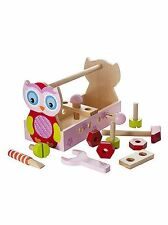 Girls Owl Traditional Wooden Toy Tool Box Tool Kit