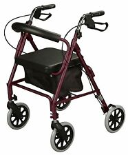 NEW! Cardinal BURGUNDY ROLLATOR Rolling Medical Walker w/ Curved Back Soft Seat