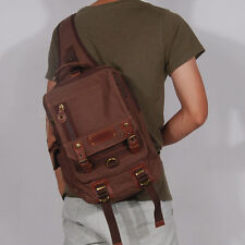Men Canvas Motorcycle  Travel Hiking Messenger Shoulder Sling Chest Bag Backpack