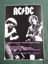 AC/DC - MAGAZINE CLIPPING / CUTTING- 1 PAGE ADVERT-#2
