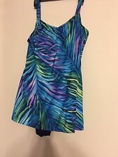Womans Swim Suit Dress size 22 Black & Blue Purple Tropical