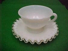 FENTON SILVER CREST Footed CUP & SAUCER #1  MILK GLASS CRYSTAL EDGE No.7 209