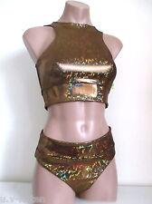 Schminke: Festival dancing scrunch bum hologram set crop top pole dance shorts
