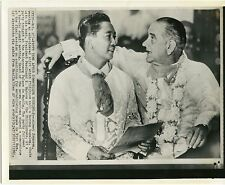Lyndon Johson with Ferdinand Marcos of Phillipines 1966 original wire photo