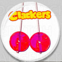 CLACKERS Badge Button Pin - retroCOOL!  -  25mm and 56mm size!