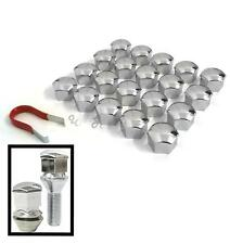 20 Car Wheel Nut Bolt Head 17mm CHROME Cover Caps Plastic Hexagonal Protectors