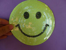 large smiley face applique sequin patch sew on iron on hotfix badge uk 13cm