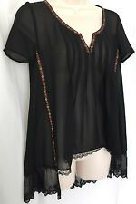 Anthropologie Staring at Stars Small Top Sheer Black Romantic Lace Trim Blouse