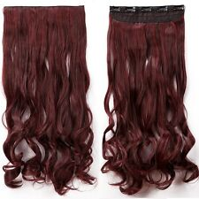 Clip in Hair Extension Dark Brown Mix Dark Red One Piece Ombre Curly Full Head