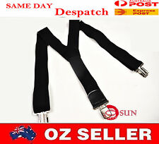 MENS MEN BRACES SUSPENDERS BLACK 50mm Wide WORK HEAVY DUTY BIKERS FISHING BRACES