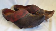 Pair of Early Antique Full Size Carved WOODEN SHOES Clogs w/ Leather Lining