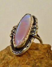 Iridescent Pink MOP Old Dead Pawn Ring Sterling Silver Stamped Vintage Jewelry