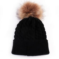 Baby Toddler Girls Boys Warm Winter Knit Beanie Fur Pom Hat Crochet Ski Ball Cap