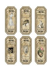 6 Paris perfume apothecary labels on glossy paper crafts scrap booking
