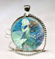 Vintage Mermaid Cabochon Glass Necklace Pendant with Ball Chain Necklace