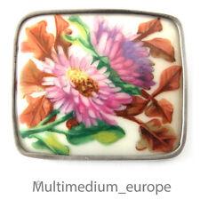 Biedermeier Porzellan Brosche Silber MRJ hand gemalt um 1850 rar silver brooch