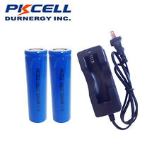 2 x 18650 3.7V 2200mAh Li-ion Rechargeable Batteries PKCELL + 18650 Charger