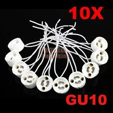 10 Pcs GU10 Socket Lamp Holder Base Ceramic Cable Wire Connector Adaptor Fixture