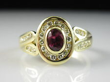 18K ITALY Ruby Diamond Ring Estate Yellow Gold Bezel Channel Genuine Size 7